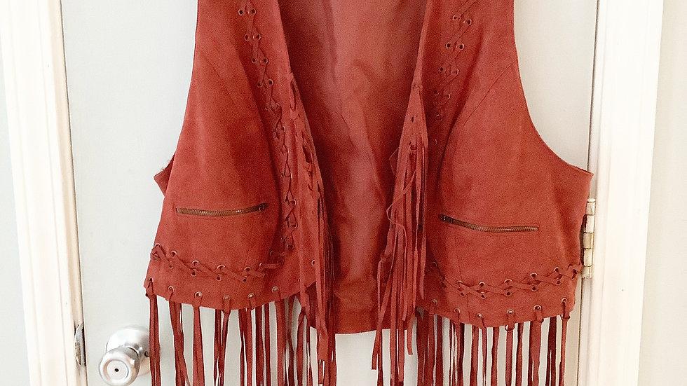 Denim 24/7 Fringed Lined Vest Size 22W