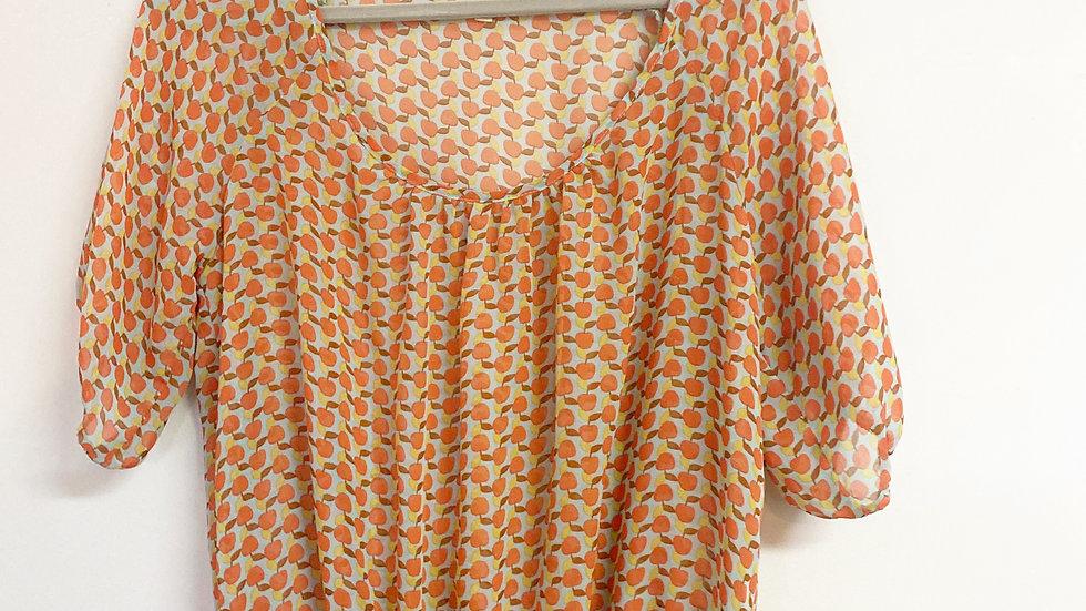 Lily Star Orange Print Sheer Blouse Size XL