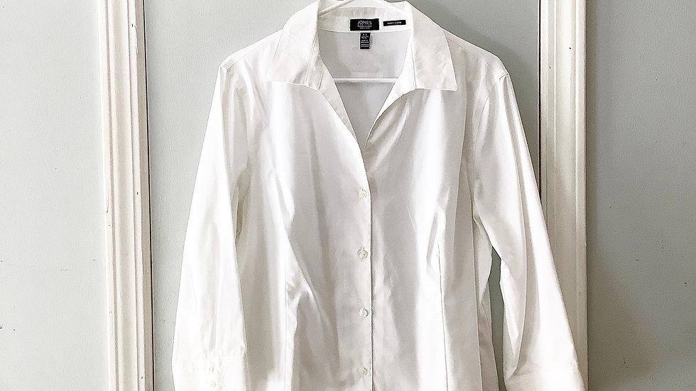 Jones New York White Button Up Blouse Size XL