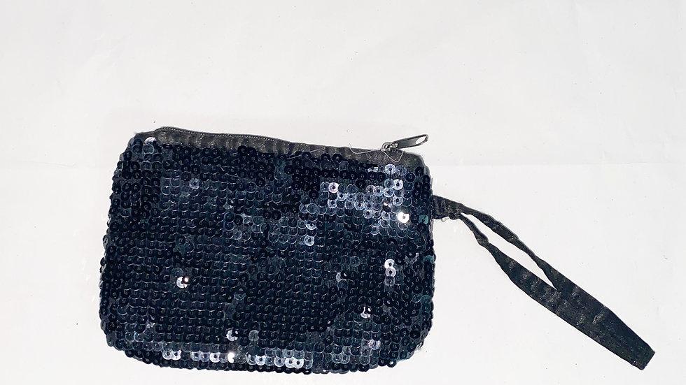 Black Sequin Wristlet Pouch 4X5.5