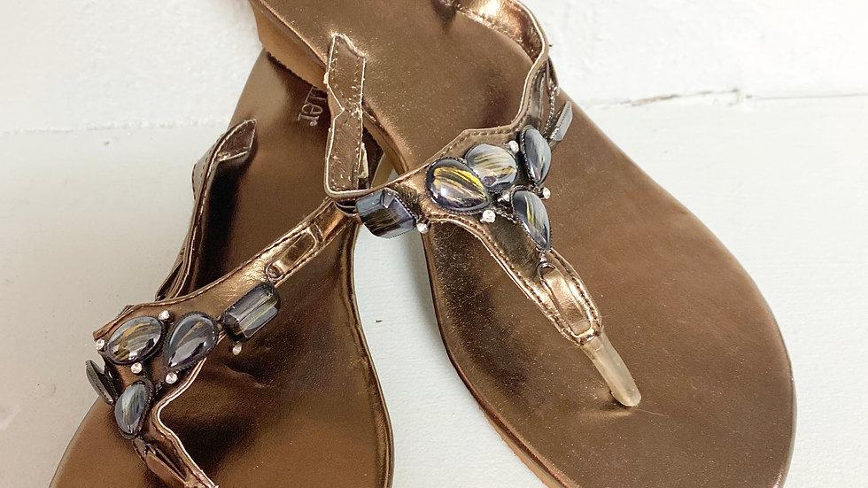 Olivia Miller Bronze Jeweled Sandal Size 7.5-8
