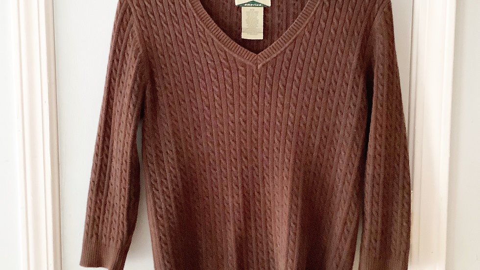 525 America Brown Cotton Blend Sweater Size M