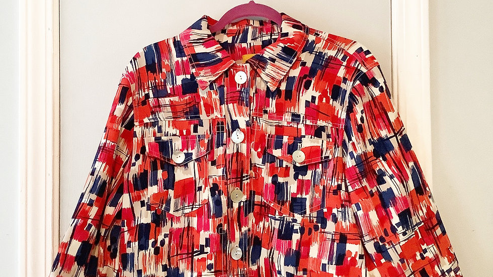 Ruby Rd Watercolor Print Jacket Size 12