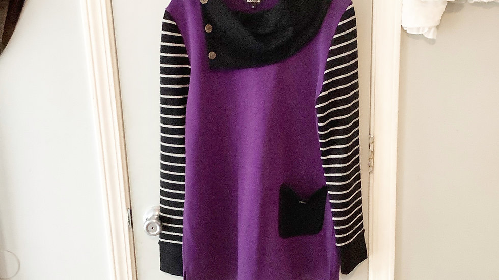 D Design Purple Button Cowl Top Size M