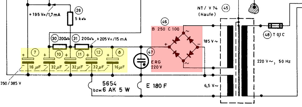 Circuit with caps and rectifier marked