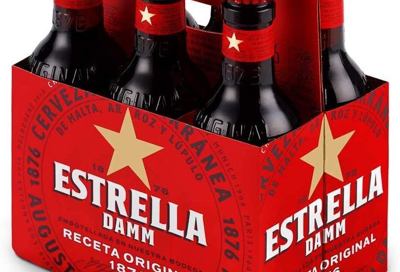 Cerveza Estrella Damm 12 Botellas + 2 Vasos de Regalo   WEBER