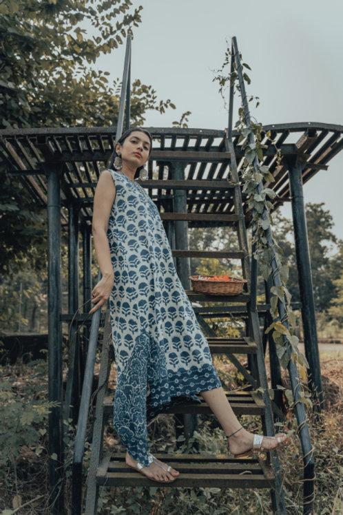 Patchwork Sleeveless Dress(Floral)