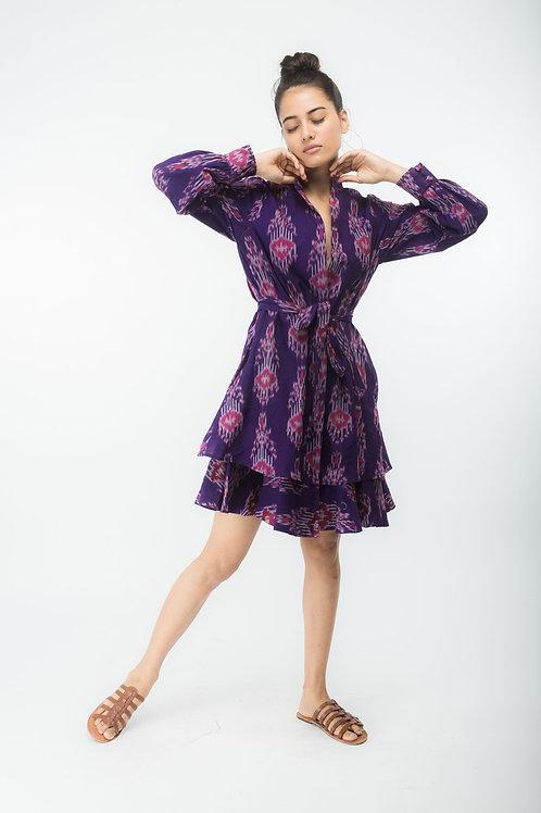 Purple Tie Up Frill Dress