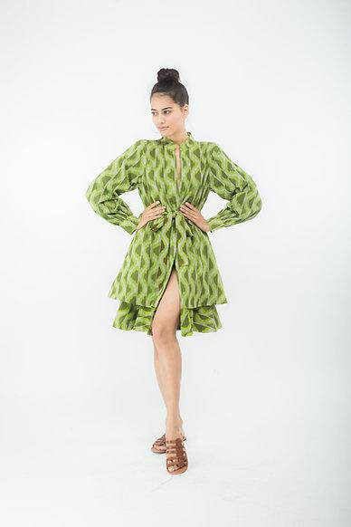 Green Tie Up Frill Dress