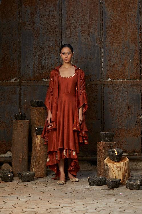 Rust Dress And Jacket Set