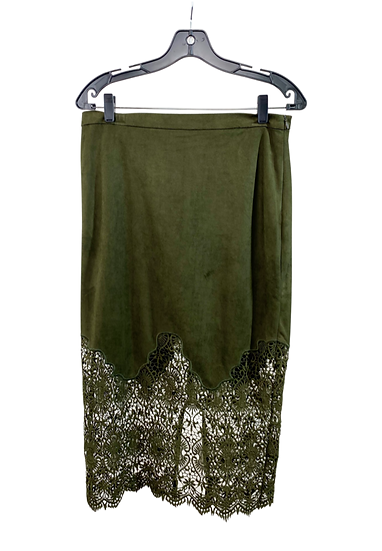 Green Suede Lace Skirt