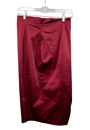 Red Satin Midi Skirt