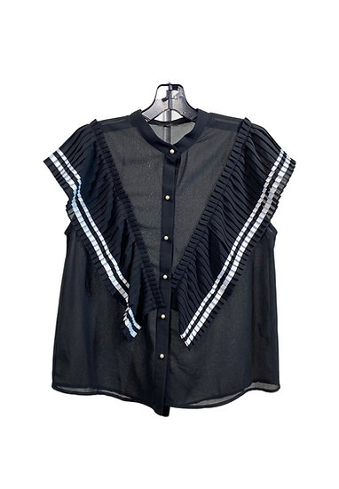 B&W Pearl Buttoned Top