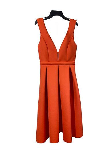 Orange Pleated Midi Dress