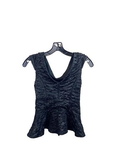 Black Peplum Textured Top