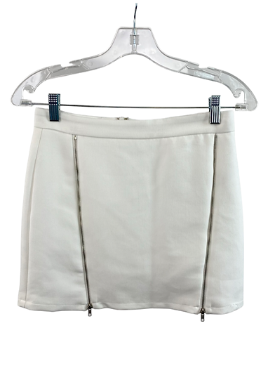 White Mini Skirt With Zippers
