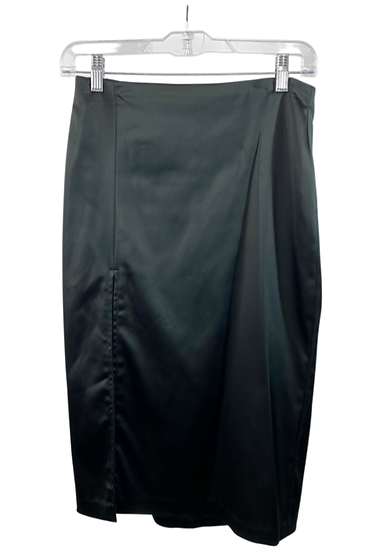 Black Satin Midi Skirt With Slit