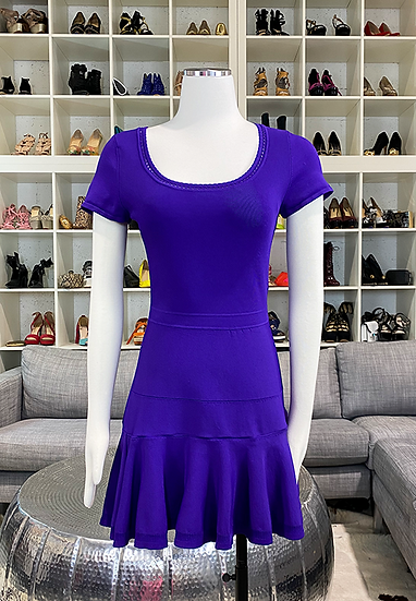 Diane Von Furstenberg Purple Short Sleeve Dress