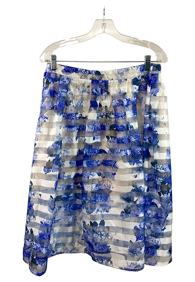 Blue & White Flower Printed Skirt