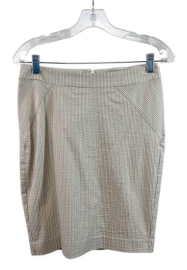 Beige & White Striped Skirt