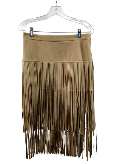 Tan Suede Fringe Skirt