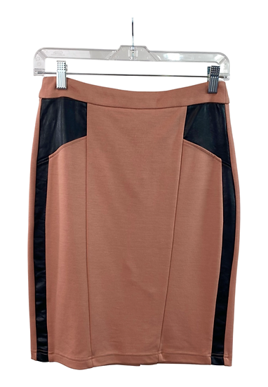 Pink Skirt with Leather Patches