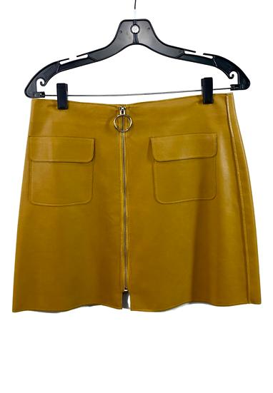 Mustard Mini Skirt With Zipper