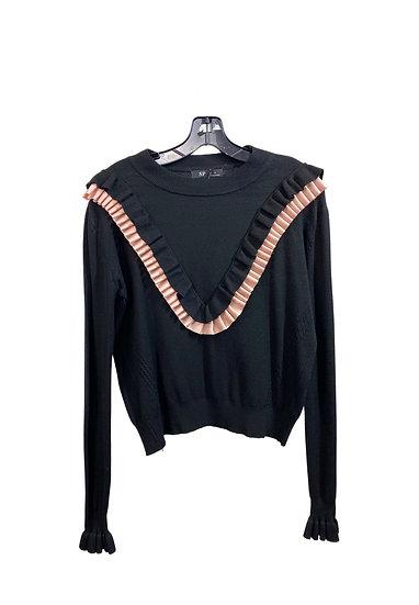 Black & Pink Ruffled Sweater