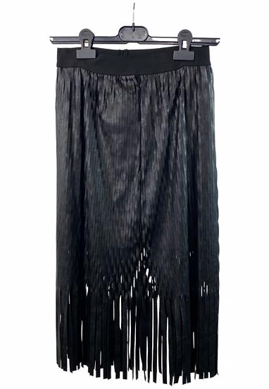 Black Faux Leather Fringe Skirt