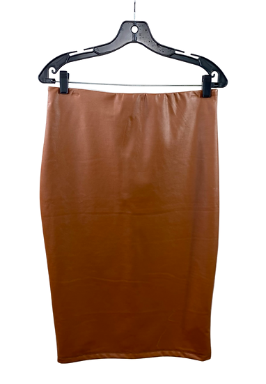 Brown Faux Leather Midi Skirt