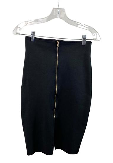 Gold Zipper Black Pencil Skirt