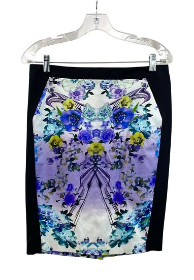 Purple Flower Printed Skirt