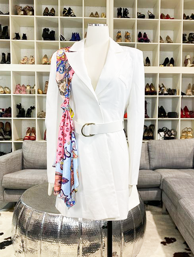 White Blazer Dress With Scarf Detail