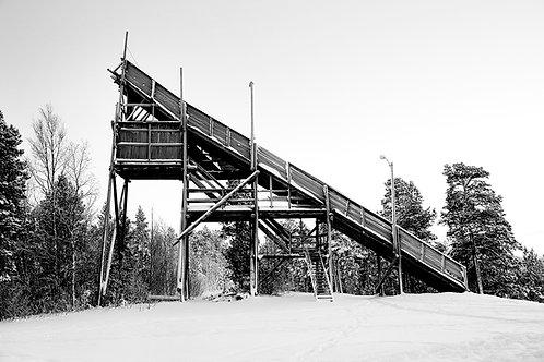 wooden ski jump in norway