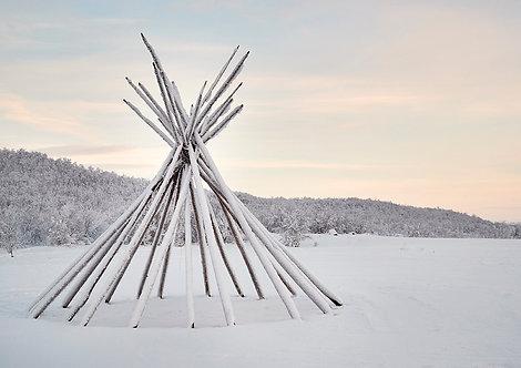 tipi in arctic winter landscape