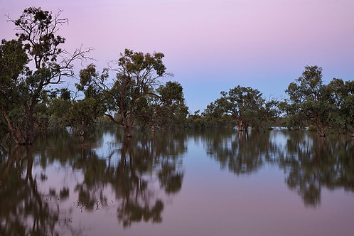 sunset at lake in the australian outback