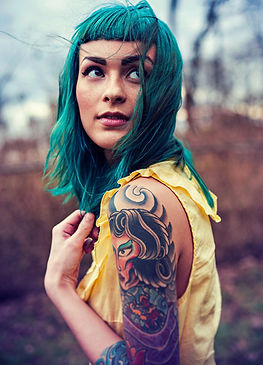 Blue-dye colored women