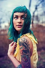 Model with Green Hair