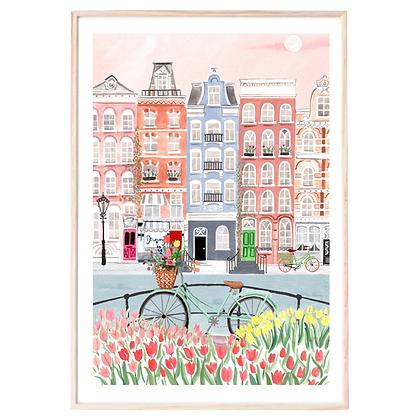 Midnight to 6 Wall Art Print, Amsterdam Spring Bloom