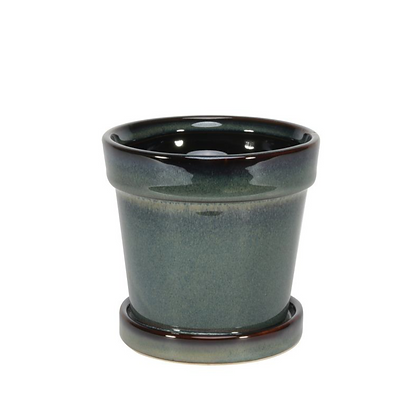 Painted Stoneware Pot with Saucer