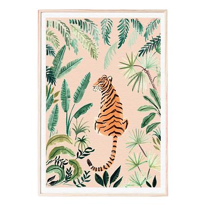Midnight to 6 Wall Art Print, Jungle Tiger