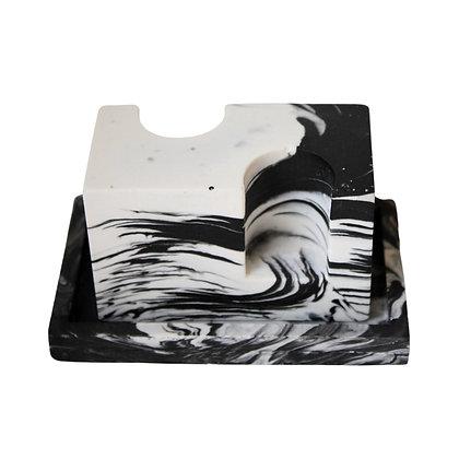Marbled Black & White Minimal Candle Holderby Rekha Maker
