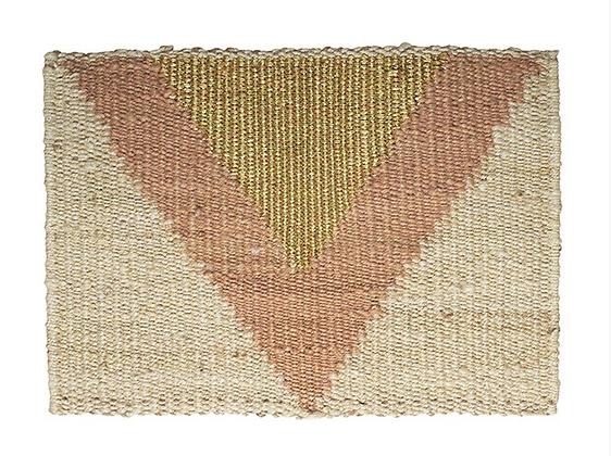 Triangle Doormat, Natural Jute, Peach & Gold