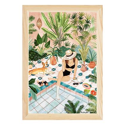 Midnight to 6 Wall Art Print, Moroccan Dipping Pool