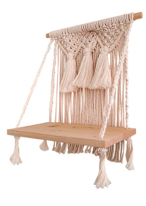 Natural Macrame Hanging Shelf