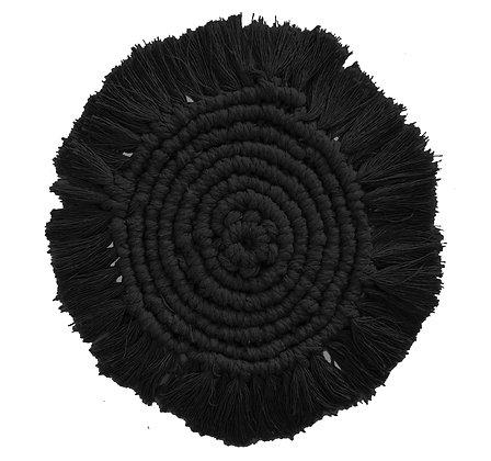 Lulu Black Macrame Coaster