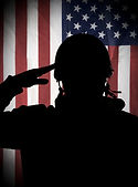 American (USA) soldier saluting to USA f