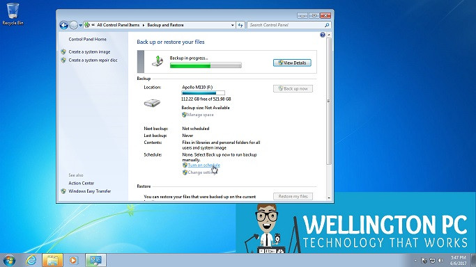 Scheduling a Backup Windows 7 Wellington PC Computer and Laptop Repairs
