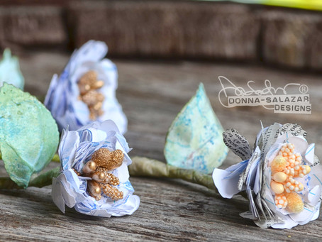 Cute 3 Dimensional Mixed Media Flowers by Donna Salazar