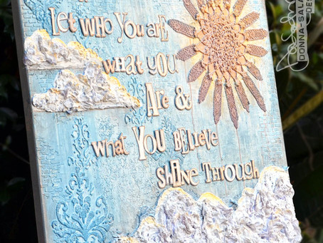 """Shine Through"" Large Girlie Grunge Mixed Media Canvas by Donna Salazar"
